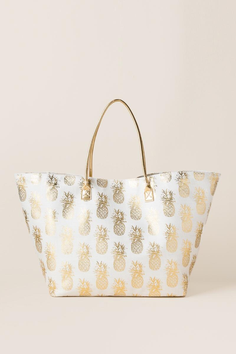 Francesca's Gold Pineapple Bag Travel Accessories