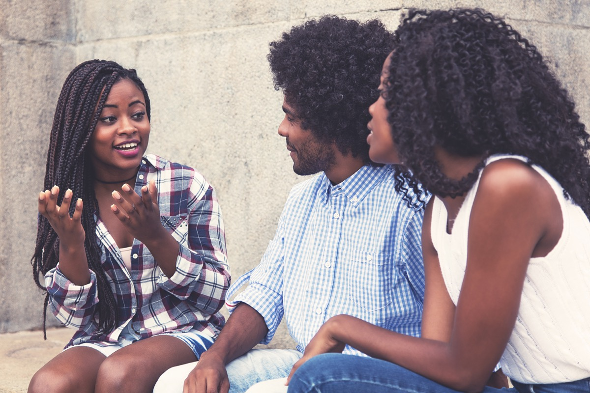 group of friends talking outside things you should never say to a single parent