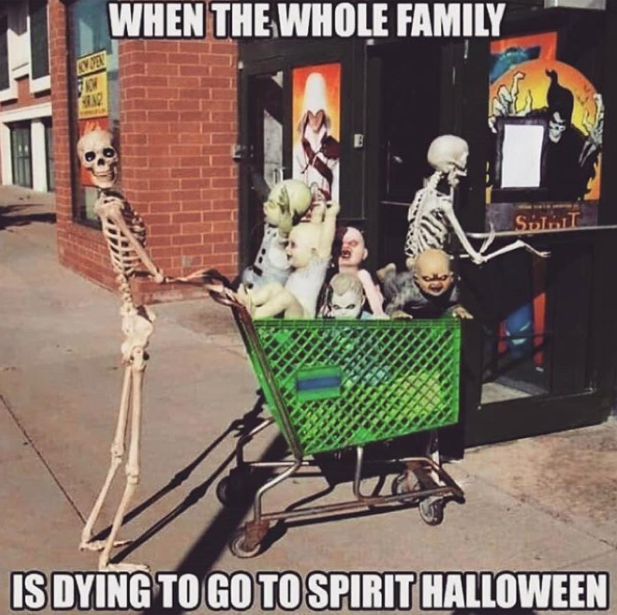 funny halloween meme skeletons shopping