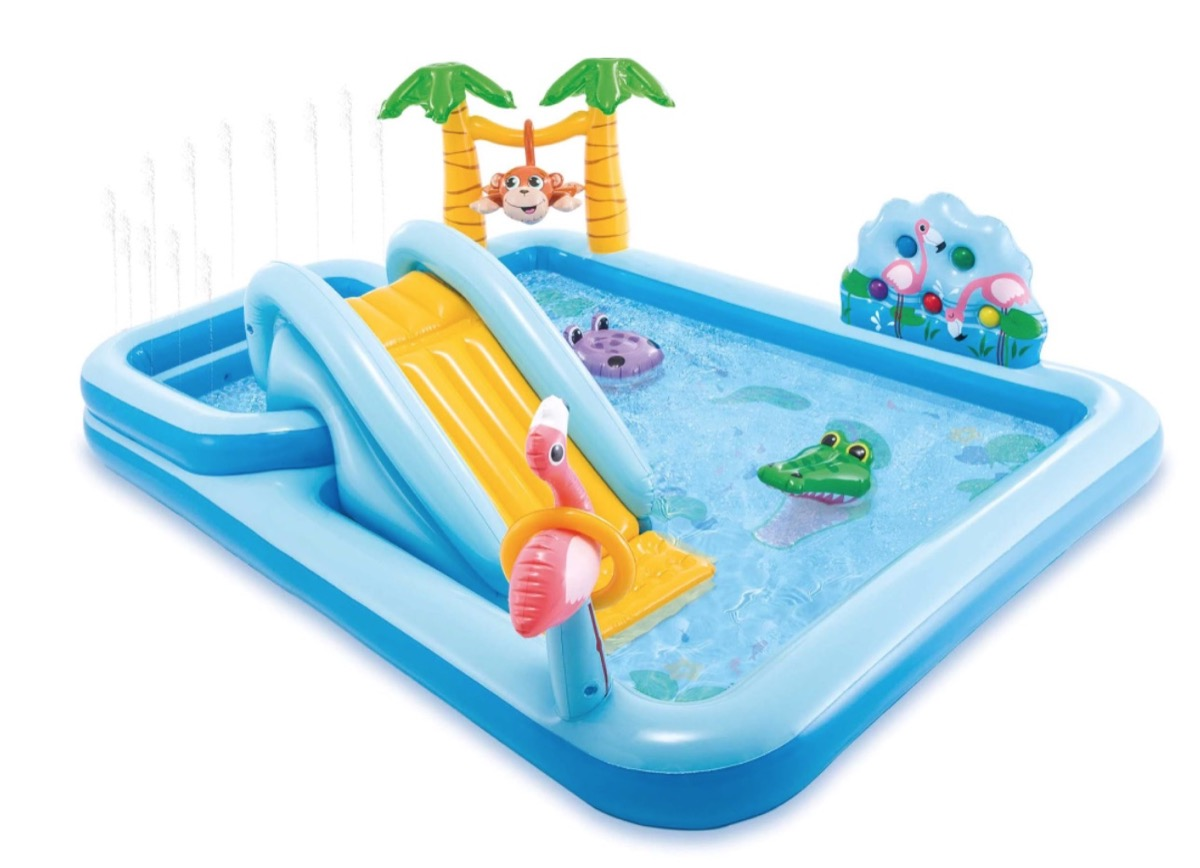 blue kiddie pool with jungle animals, best outdoor toys for toddlers