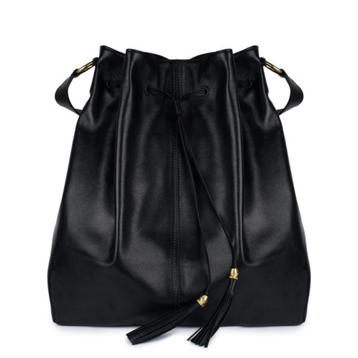 black leather tote with tassels, luxury beach bags