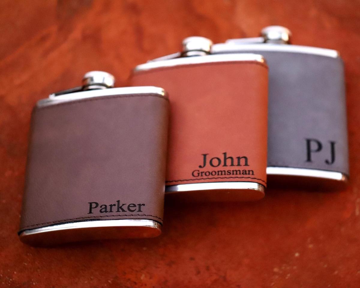 custom leather flask, best friend gifts