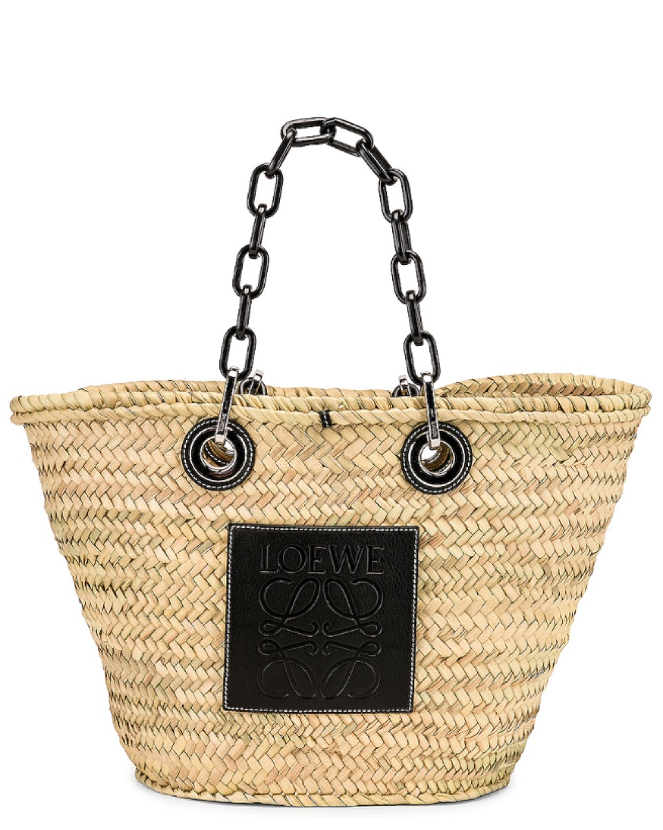 woven basket with chain straps, luxury beach bags