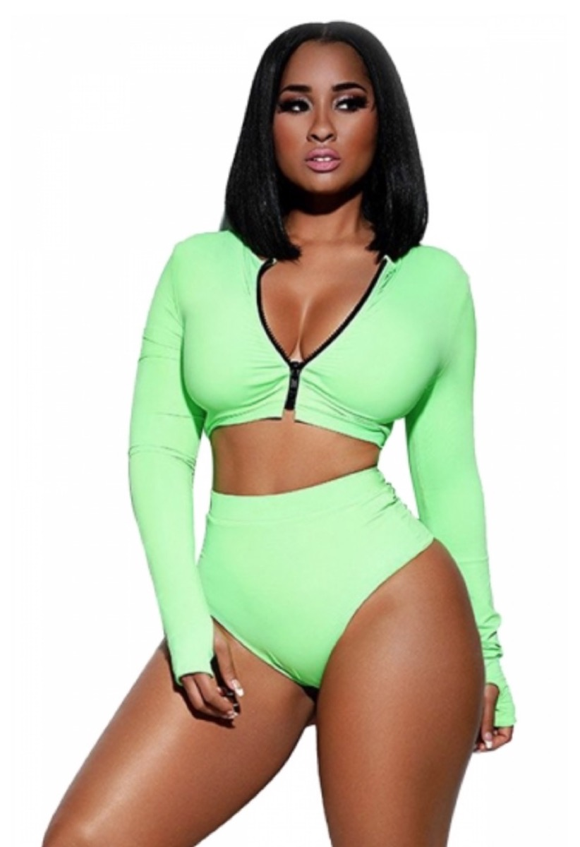 long sleeved zip front green swimsuit, cheap swimsuits