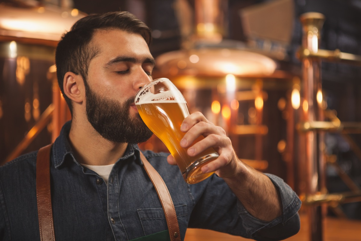 brewer sipping beer
