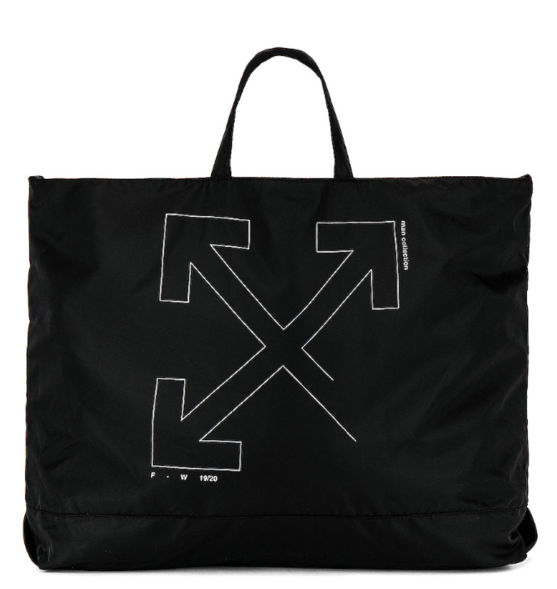 black bag with off-white logo, luxury beach bags