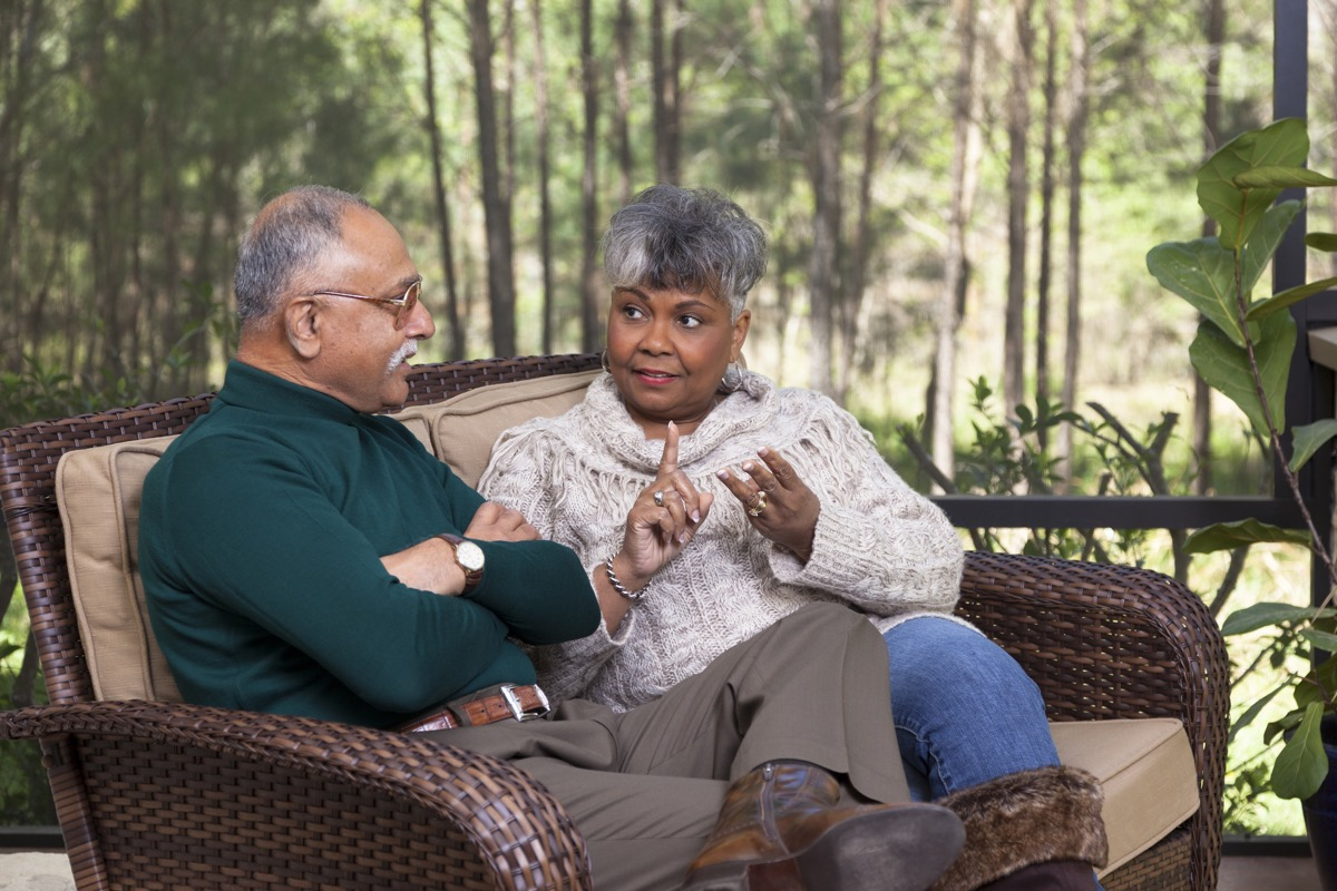 older couple talking about dealbreakers
