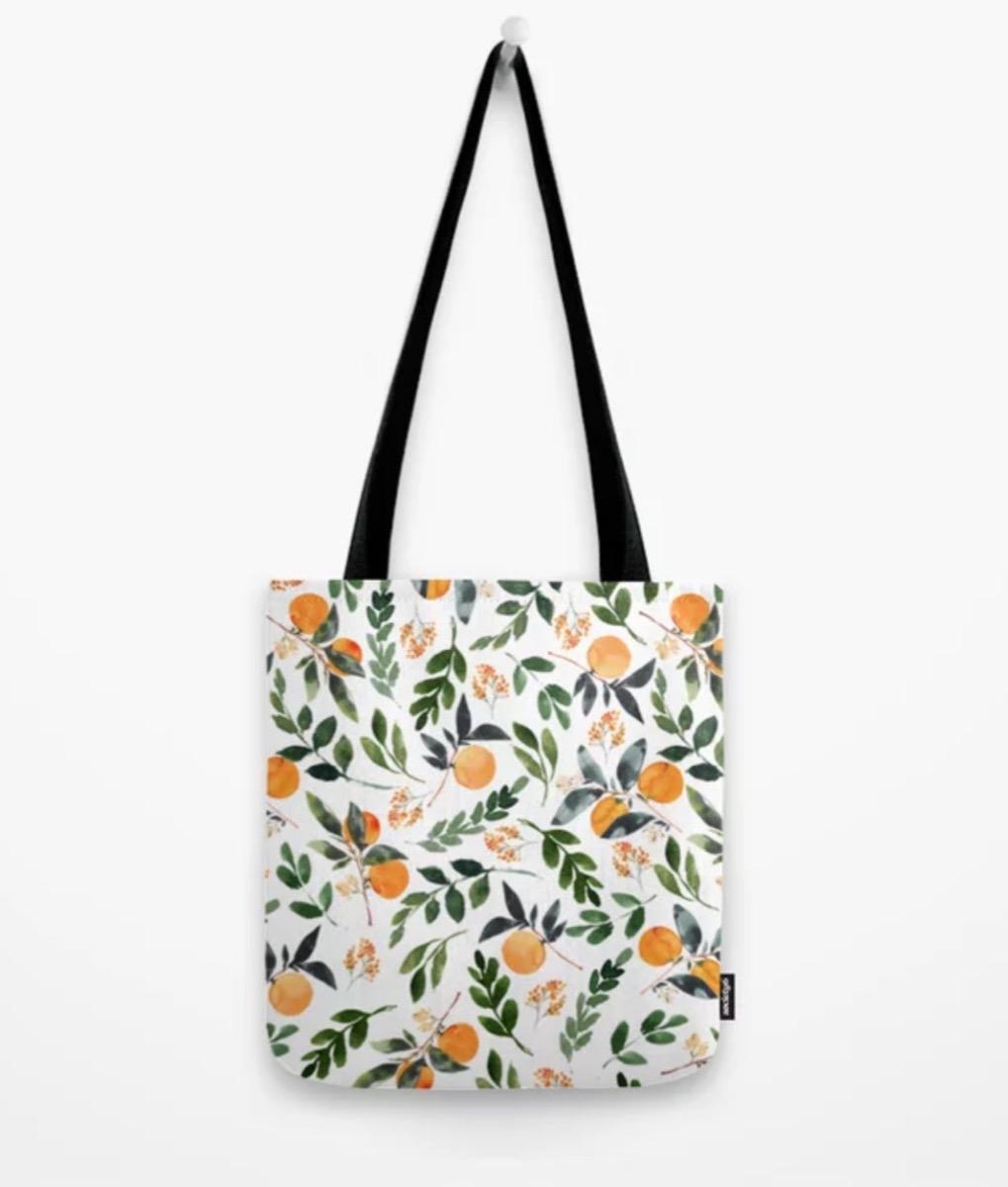 orange print tote bag, best gifts for girlfriend
