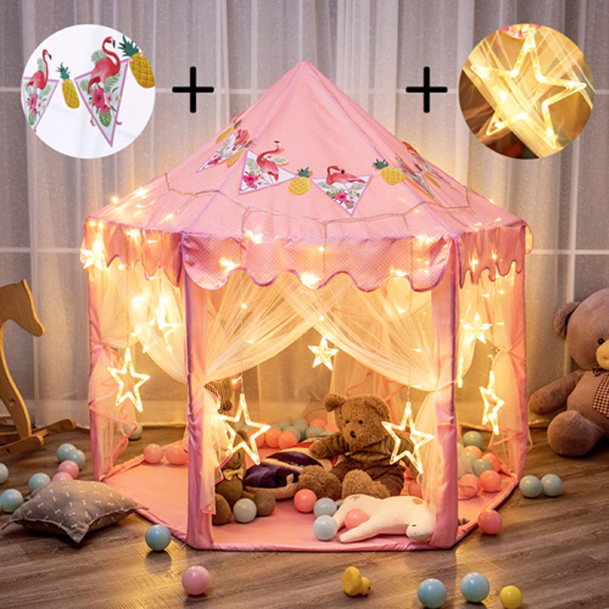 pink tent with twinkly lights, best outdoor toys for toddlers