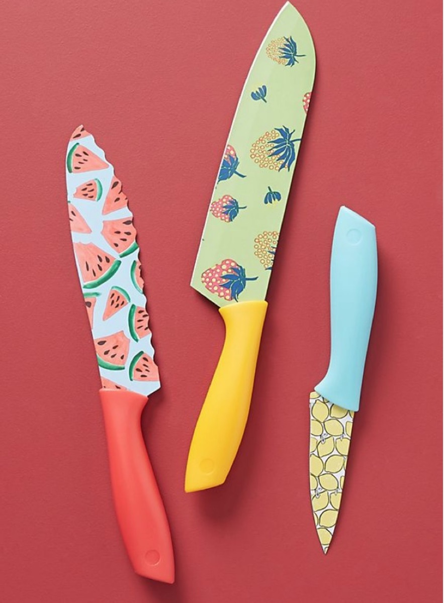 three patterned knives, picnic essentials