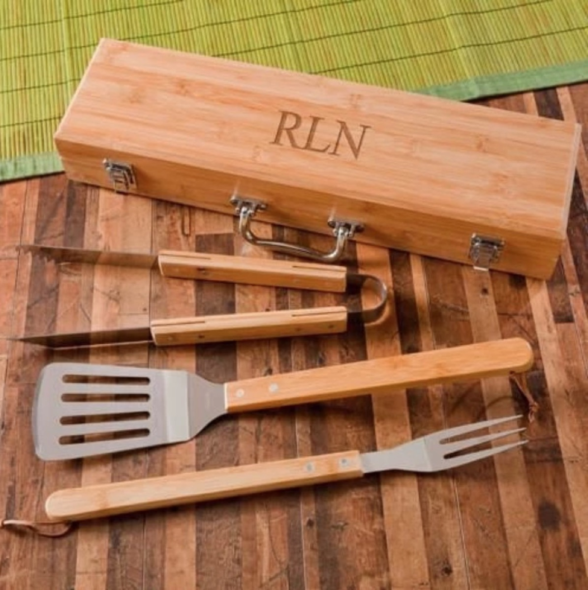grilling tools with monogrammed wooden box, best friend gifts