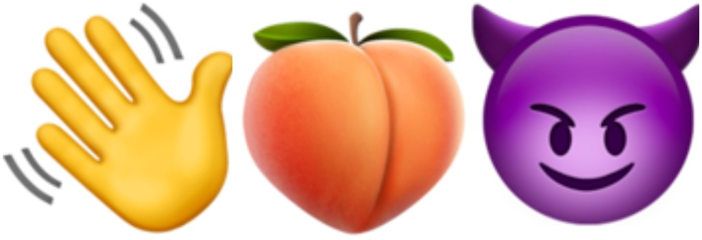 waving hand, peach, smiling face with horns, sex emoji combinations