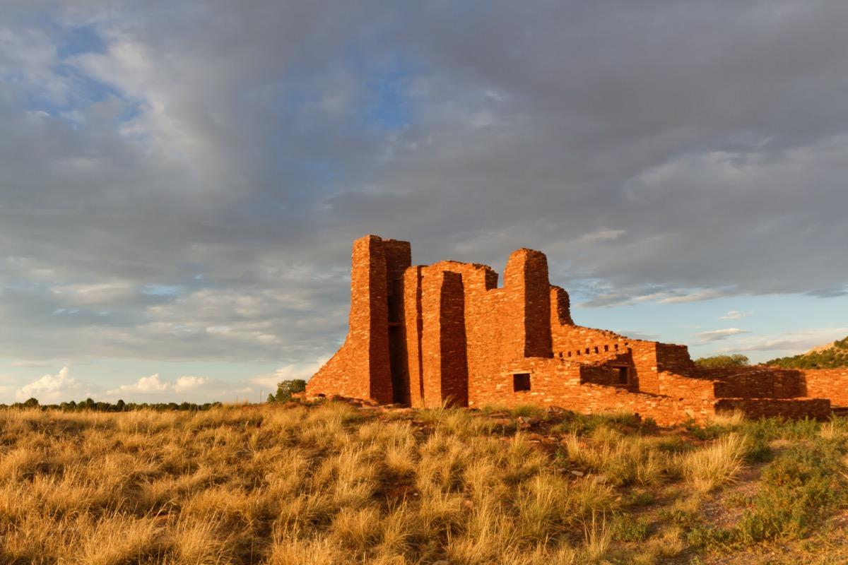 pueblo ruins at sunset