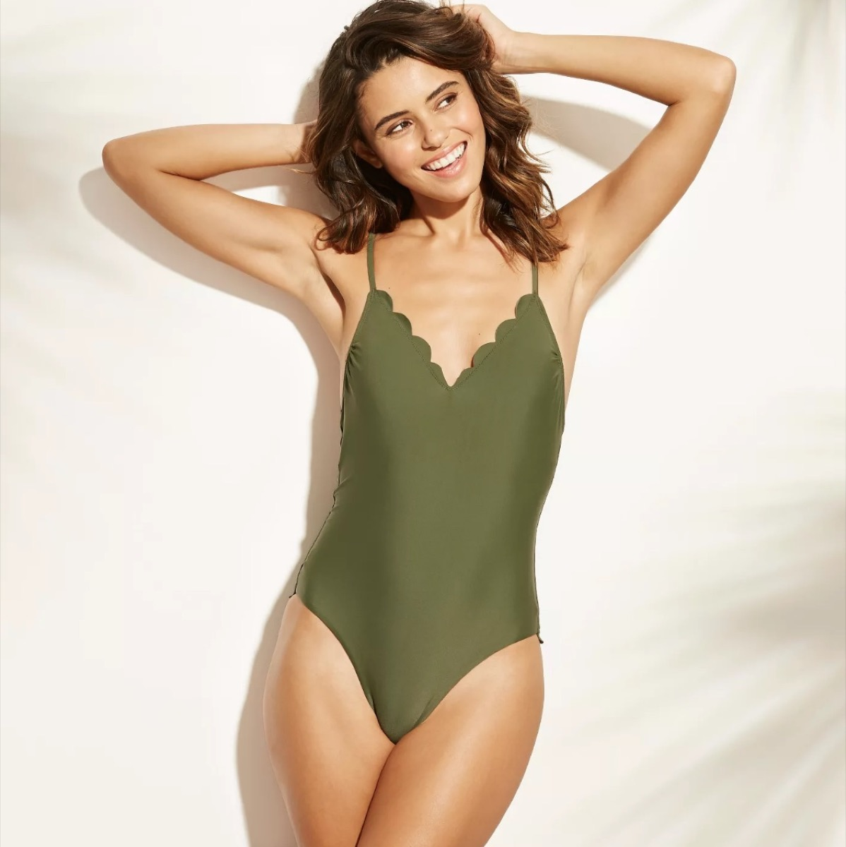 green scalloped one-piece, cheap swimsuits