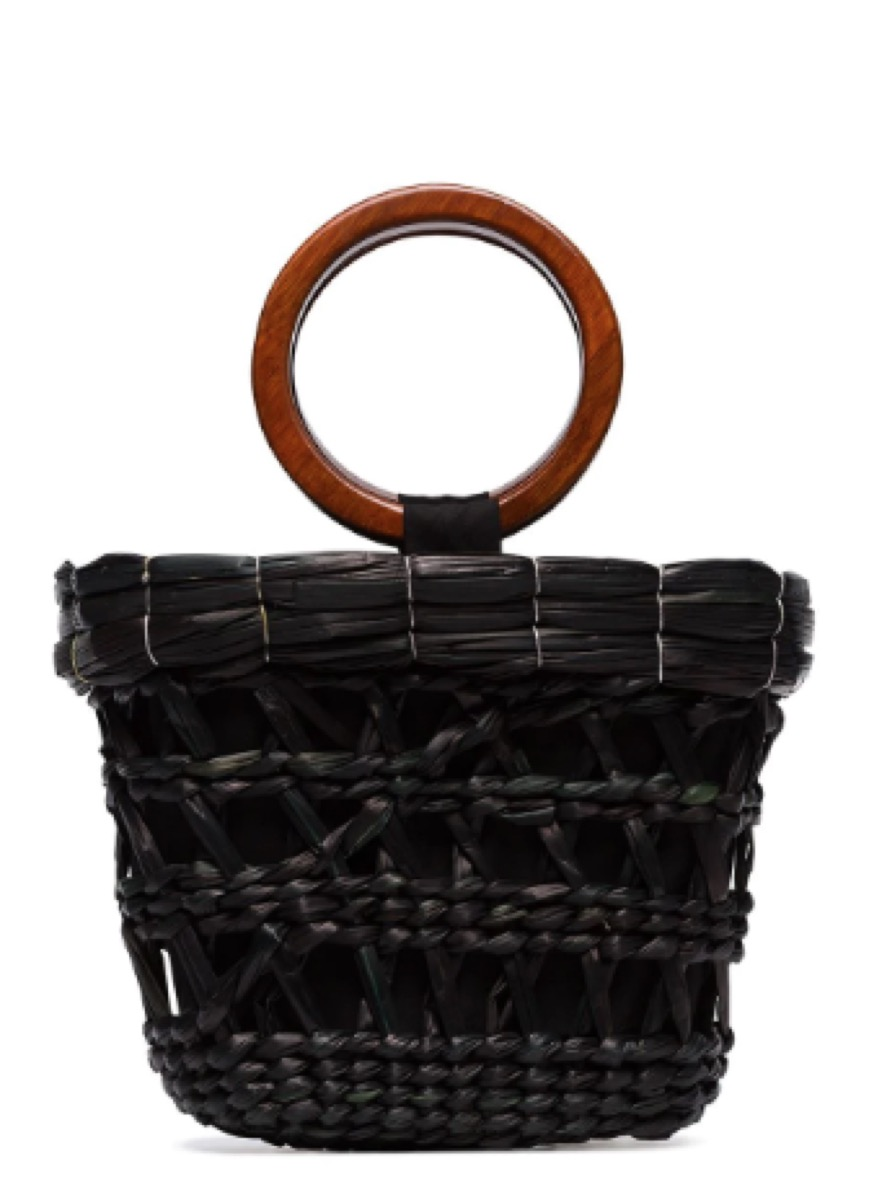 black woven bag with wooden handle, luxury beach bags