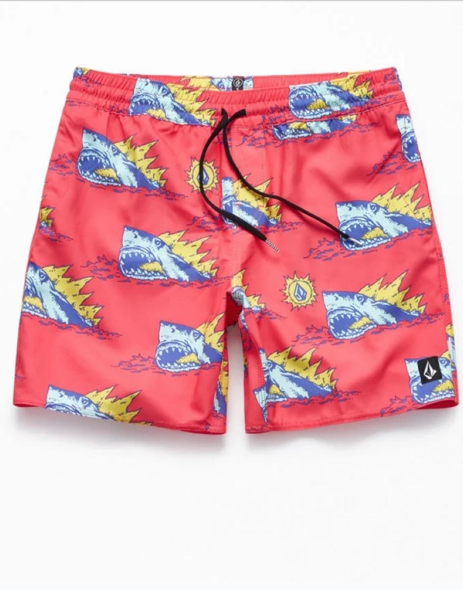 shark-print swim trunks, cheap swimsuits