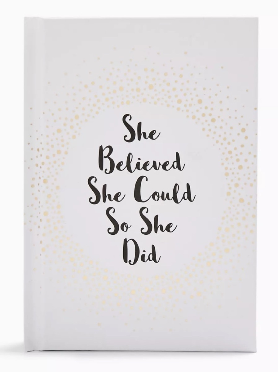 """book with """"she believed she could so she did"""" on the cover, best gifts for girlfriend"""