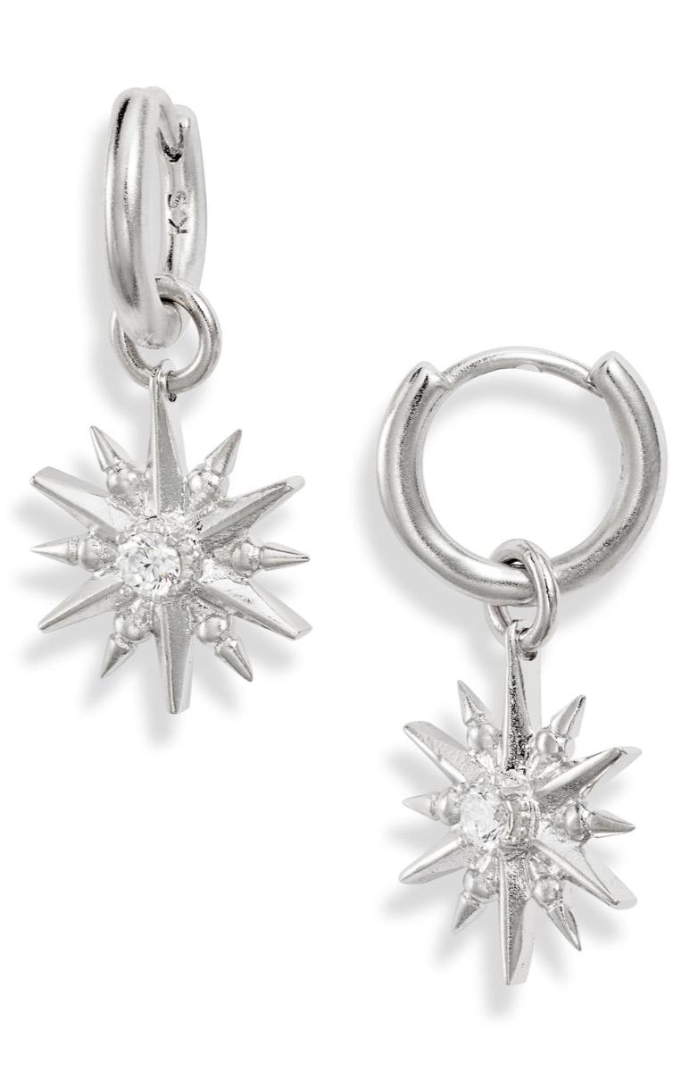 silver hoop earrings with starbursts, Nordstrom anniversary sale