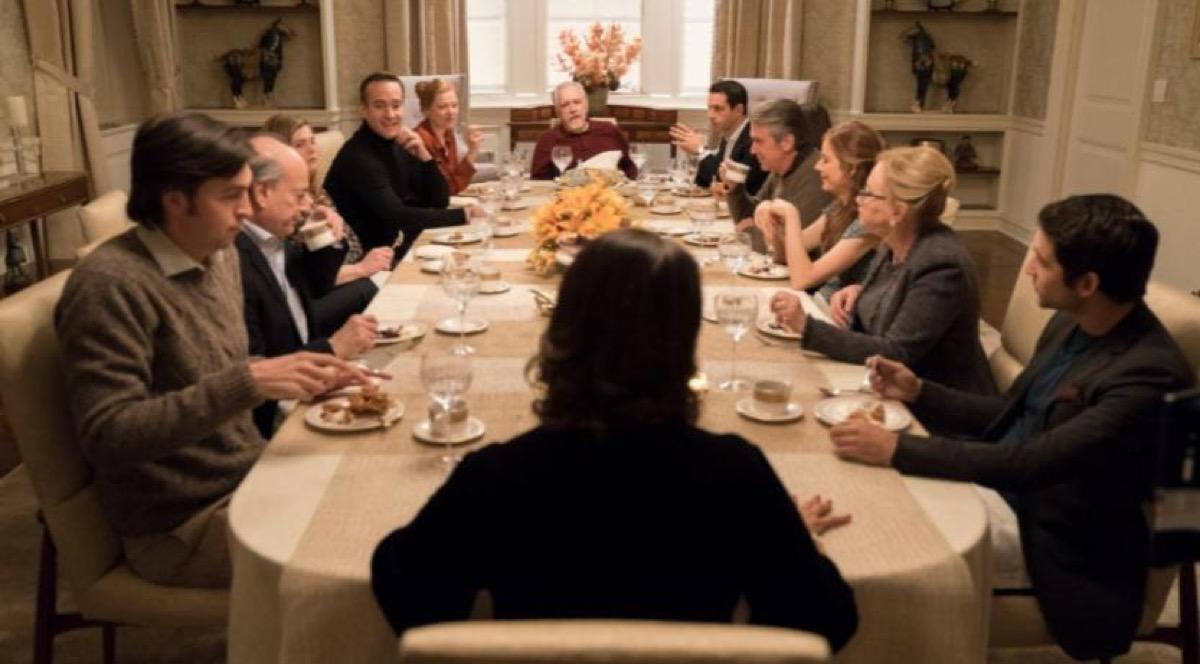 dinner table scene in succession