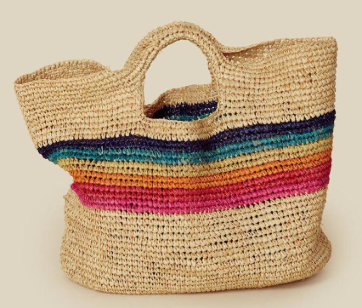 sundry rainbow striped tote, luxury beach bags