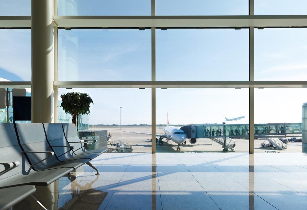 sunny airport terminal