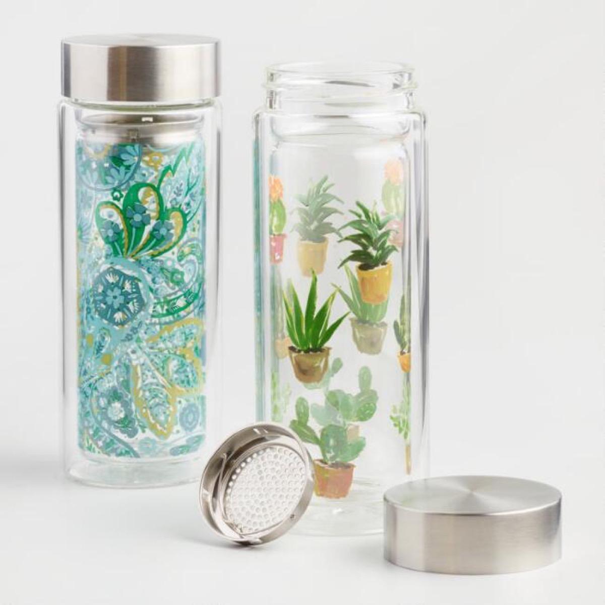 patterned tea infuser bottles, picnic essentials