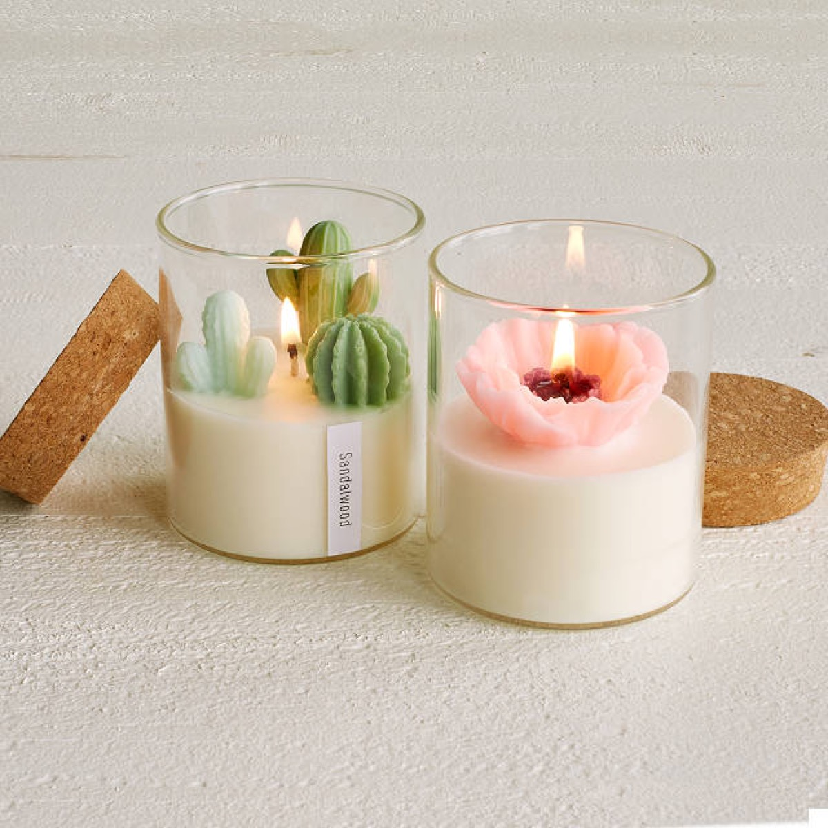 candles with fake cactuses and flowers in them, best gifts for girlfriend