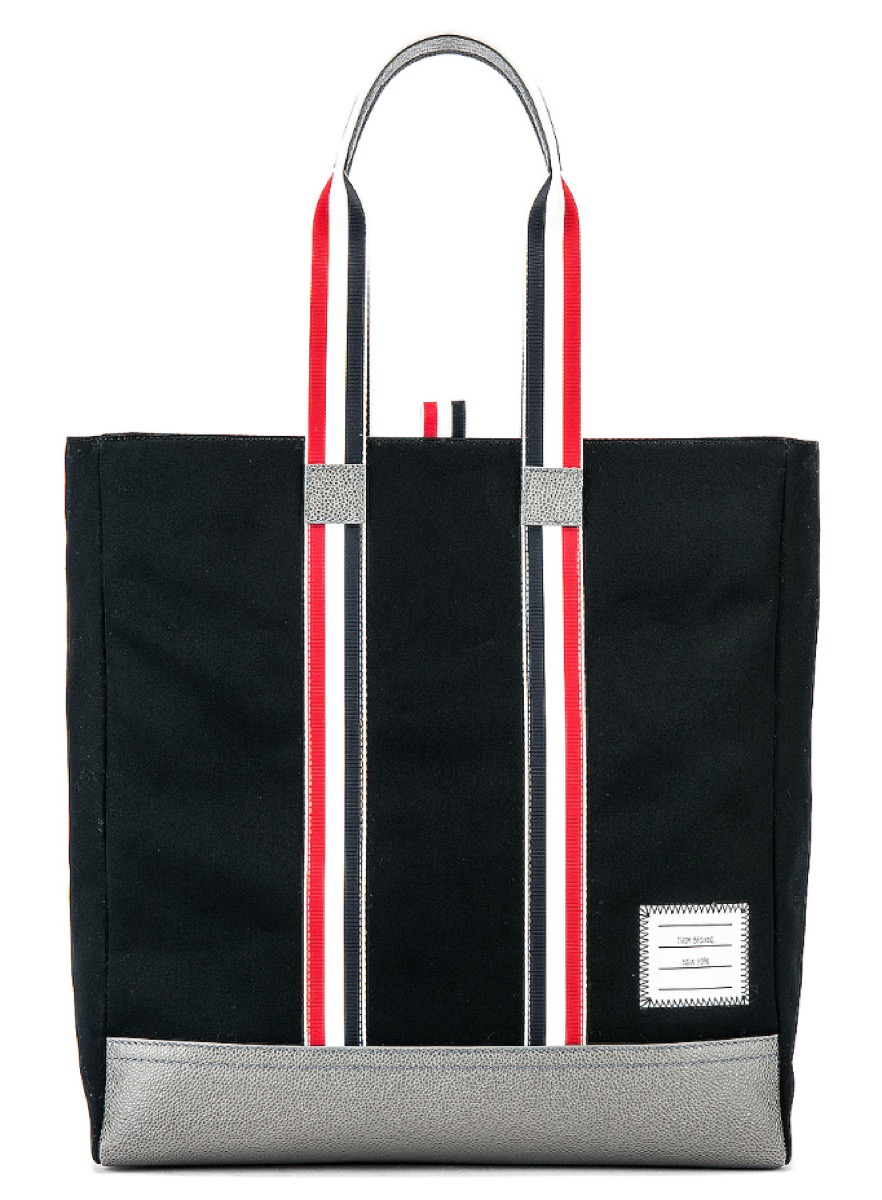 black tote with striped straps, luxury beach bags