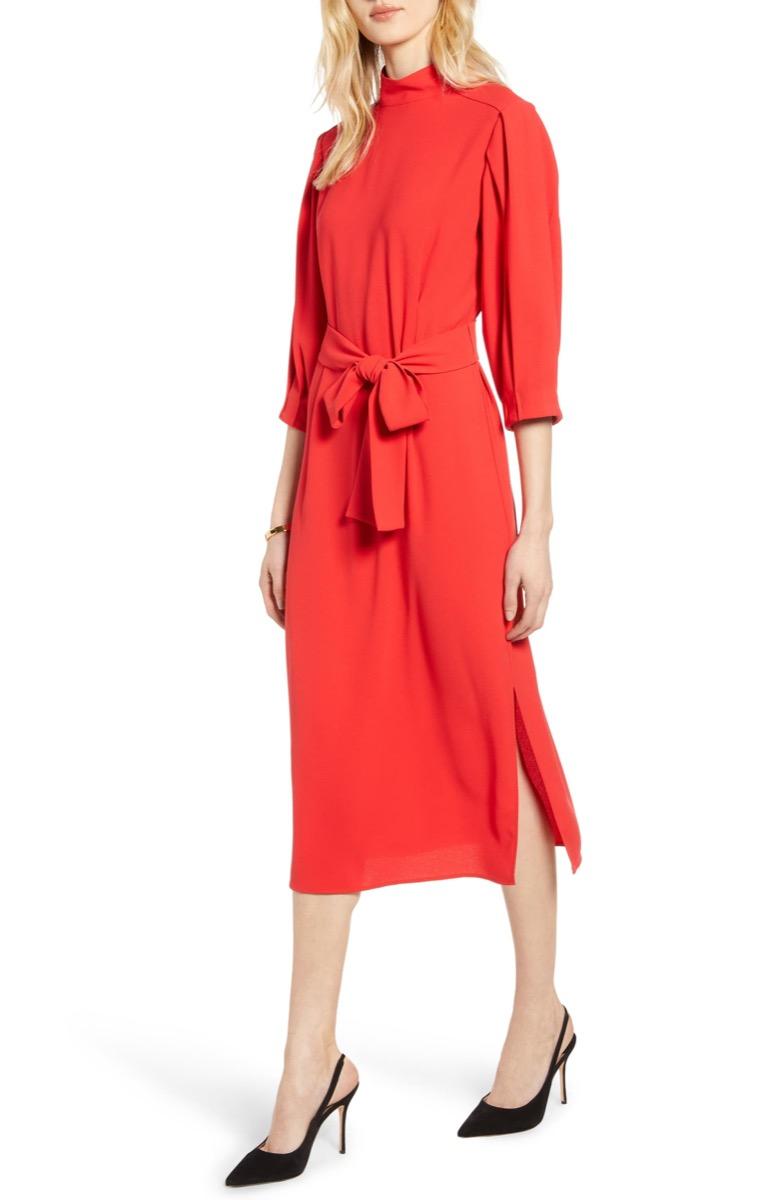 red tie waist dress, Nordstrom anniversary sale
