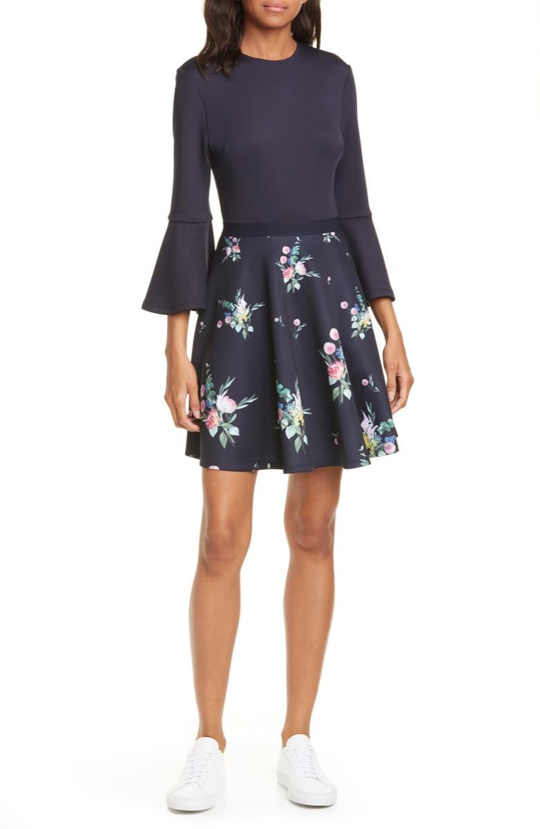 trumpet sleeved black floral dress, Nordstrom anniversary sale