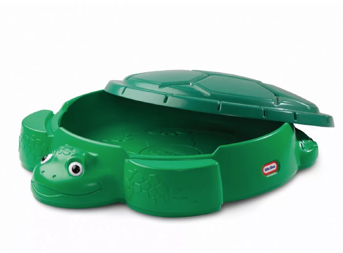 green turtle sandbox, best outdoor toys for toddlers