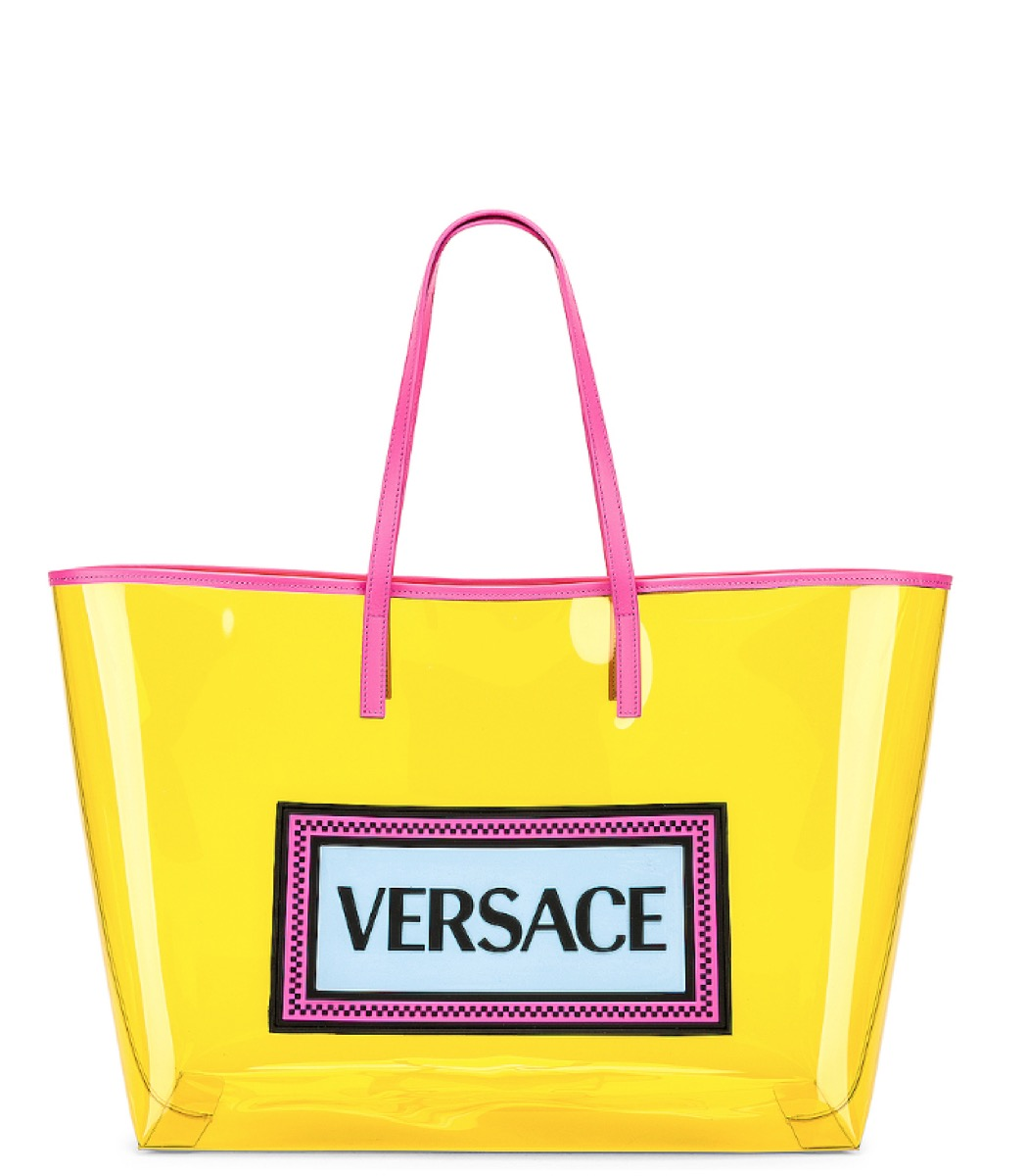 yellow clear versace tote, luxury beach bags