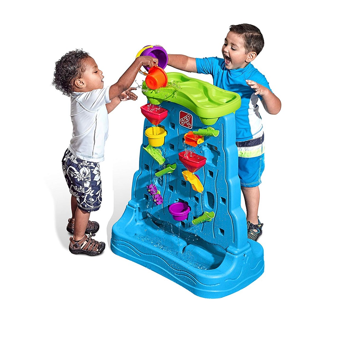 two children playing with a waterfall toy, best outdoor toys for toddlers