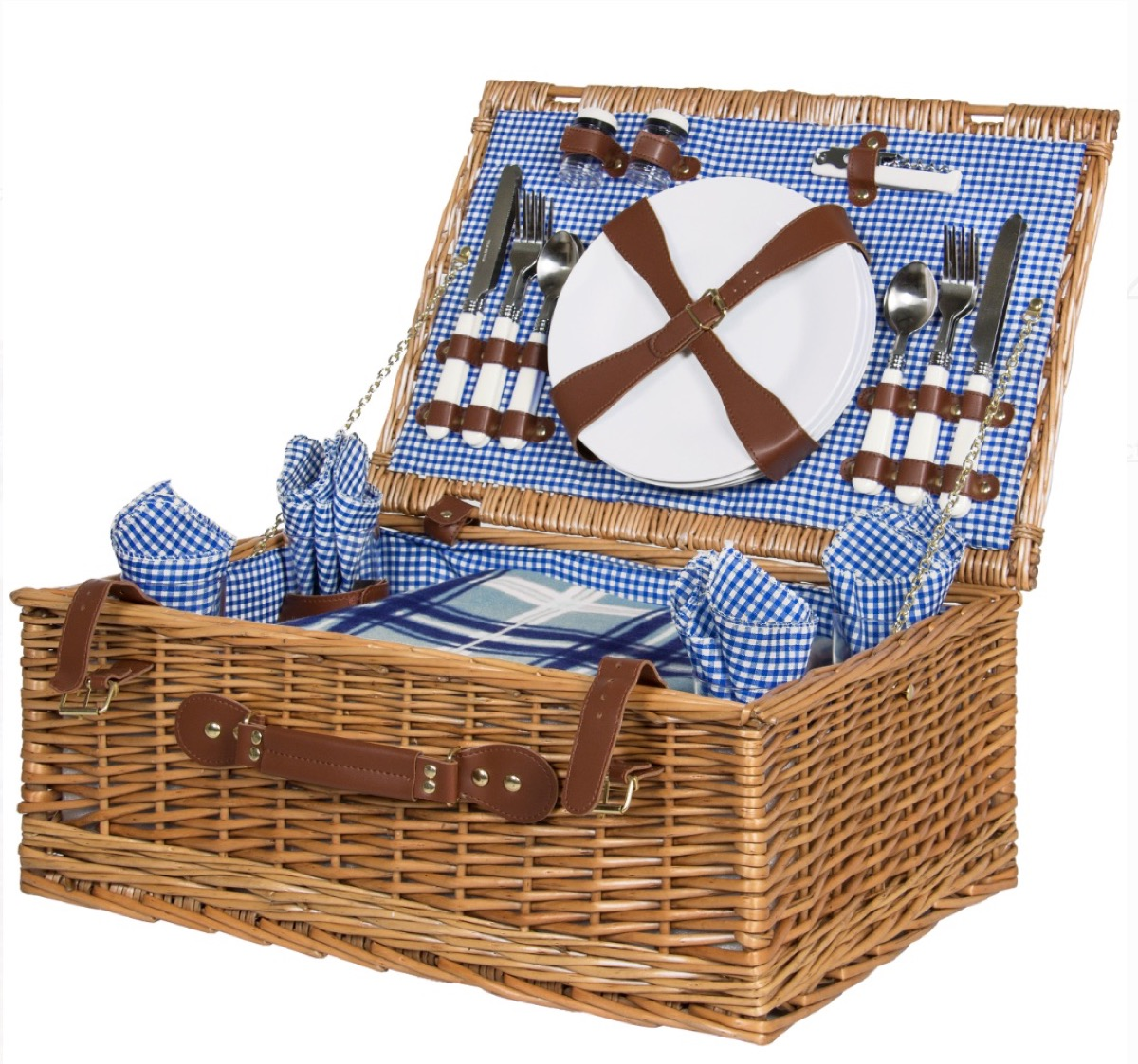 wicker picnic basket with blue lining, picnic essentials