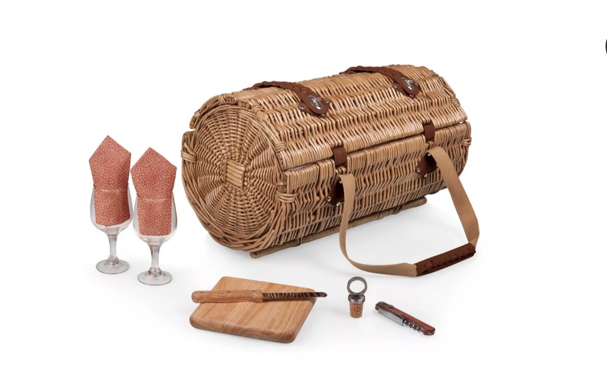 wicker wine and cheese basket, picnic essentials