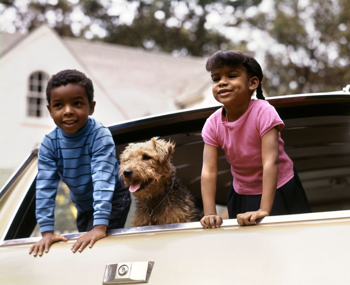 1970s LITTLE AFRICAN-AMERICAN BOY AND GIRL LEANING OUT OF CAR WINDOW WITH DOG