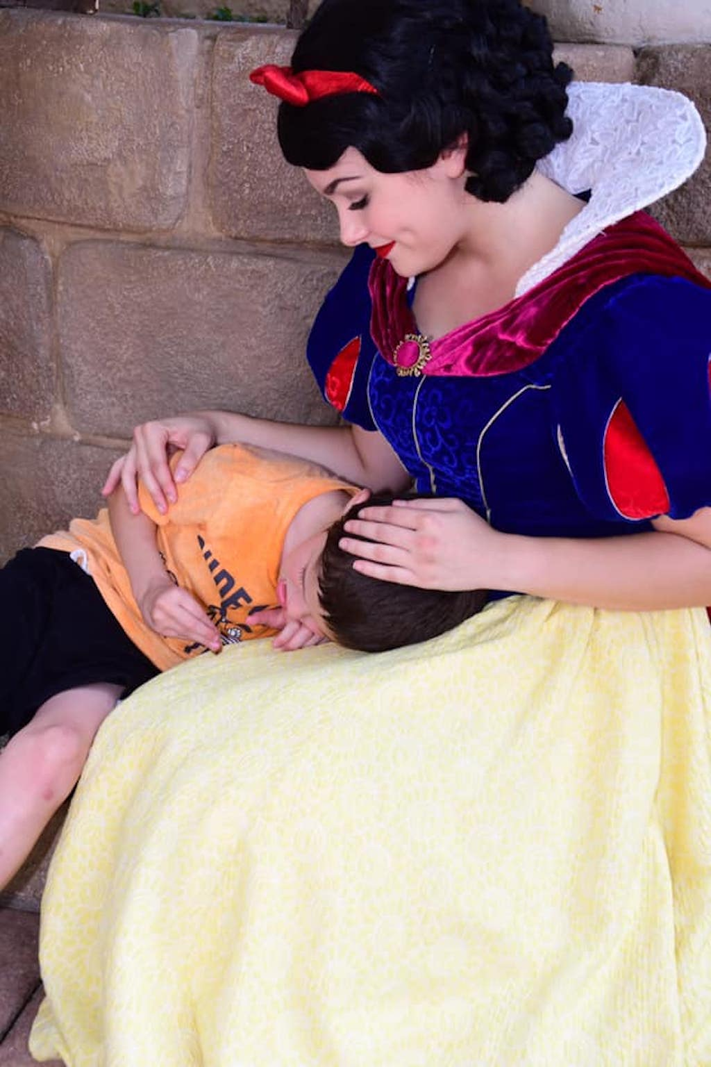 snow white comforts child with autism