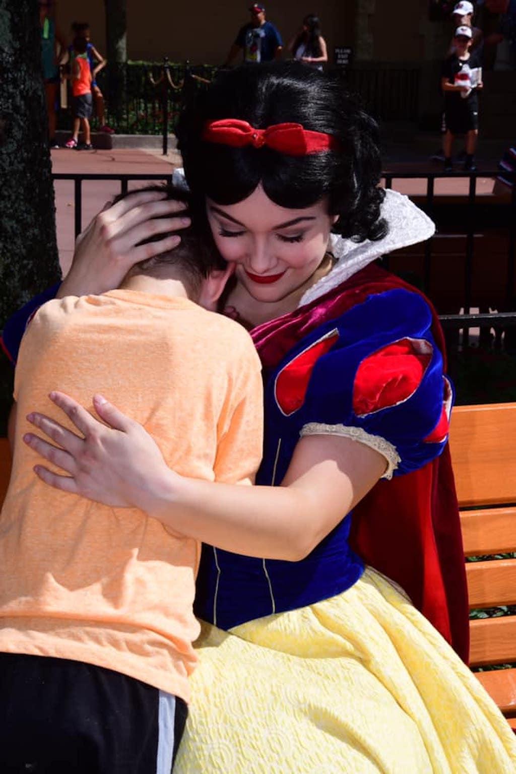 snow white comforts autistic child