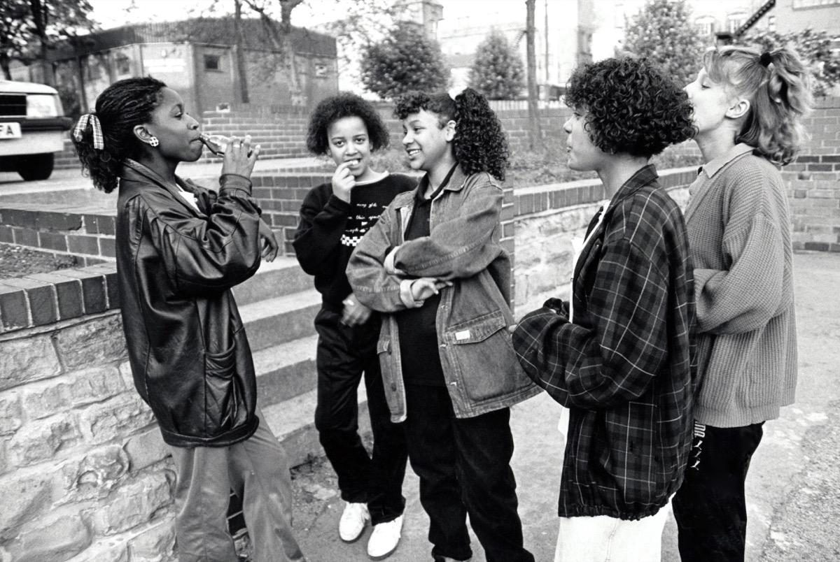 Group of teenage girls, UK 1989