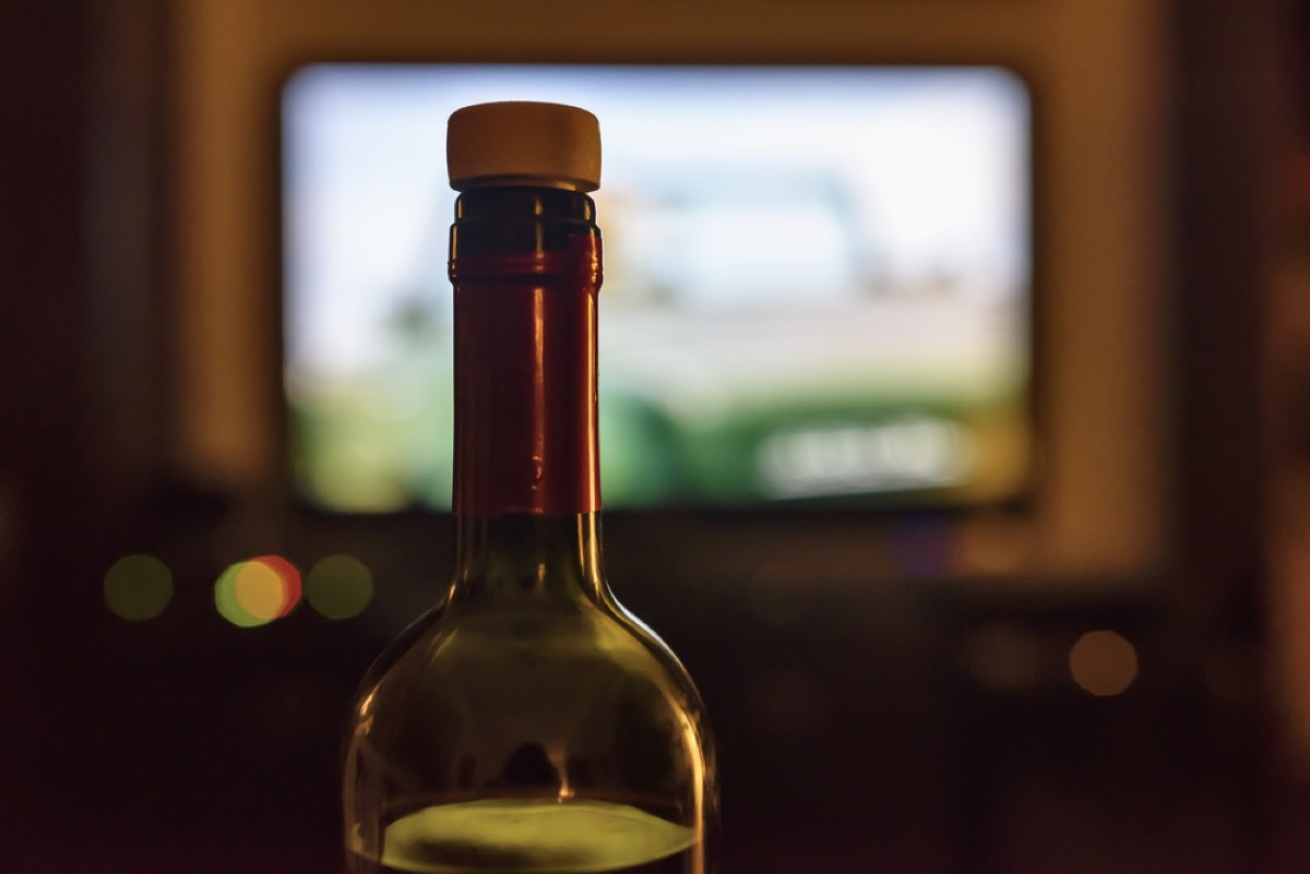 Bottle of Wine in front of TV