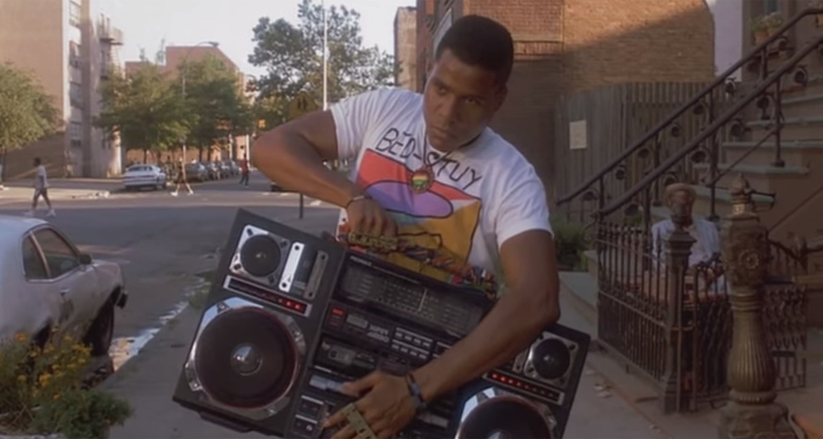 Radio Raheem holds boombox in Do the Right Thing, 1989
