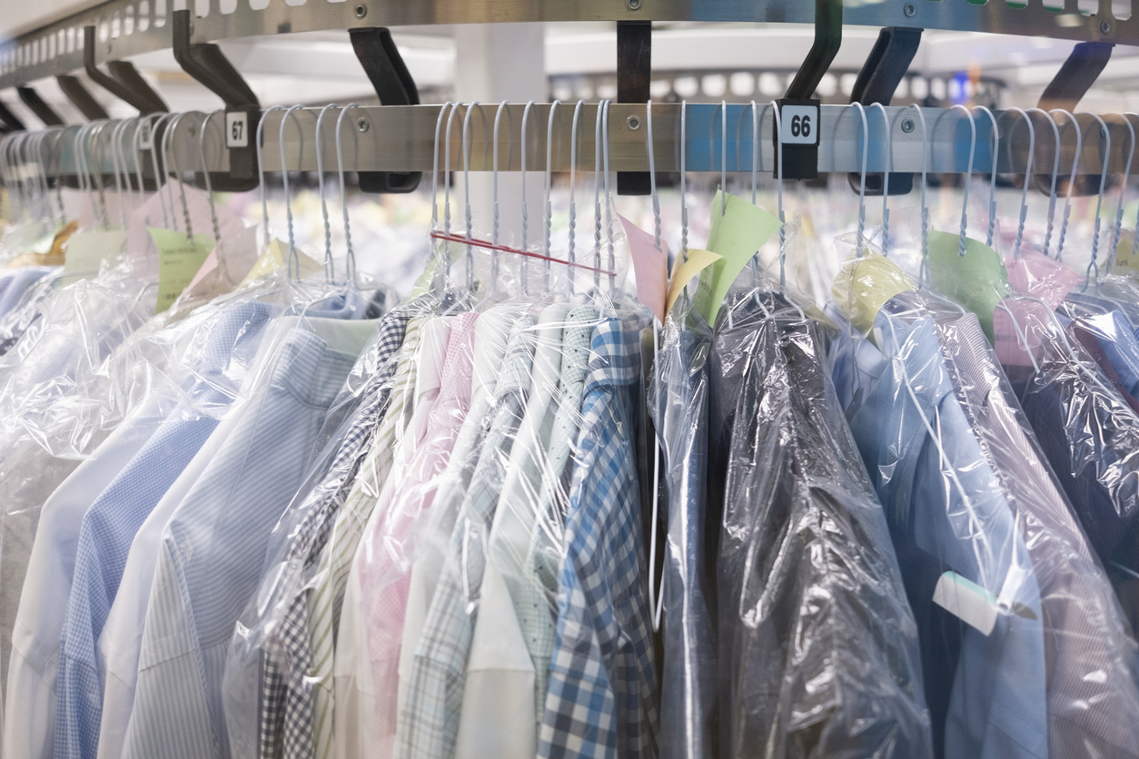 Dry cleaning: Clothes hang on the stand