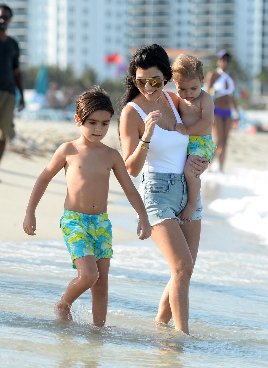 Kourtney Kardashian, Mason Disick, Reign Disick in Miami Beach, Florida