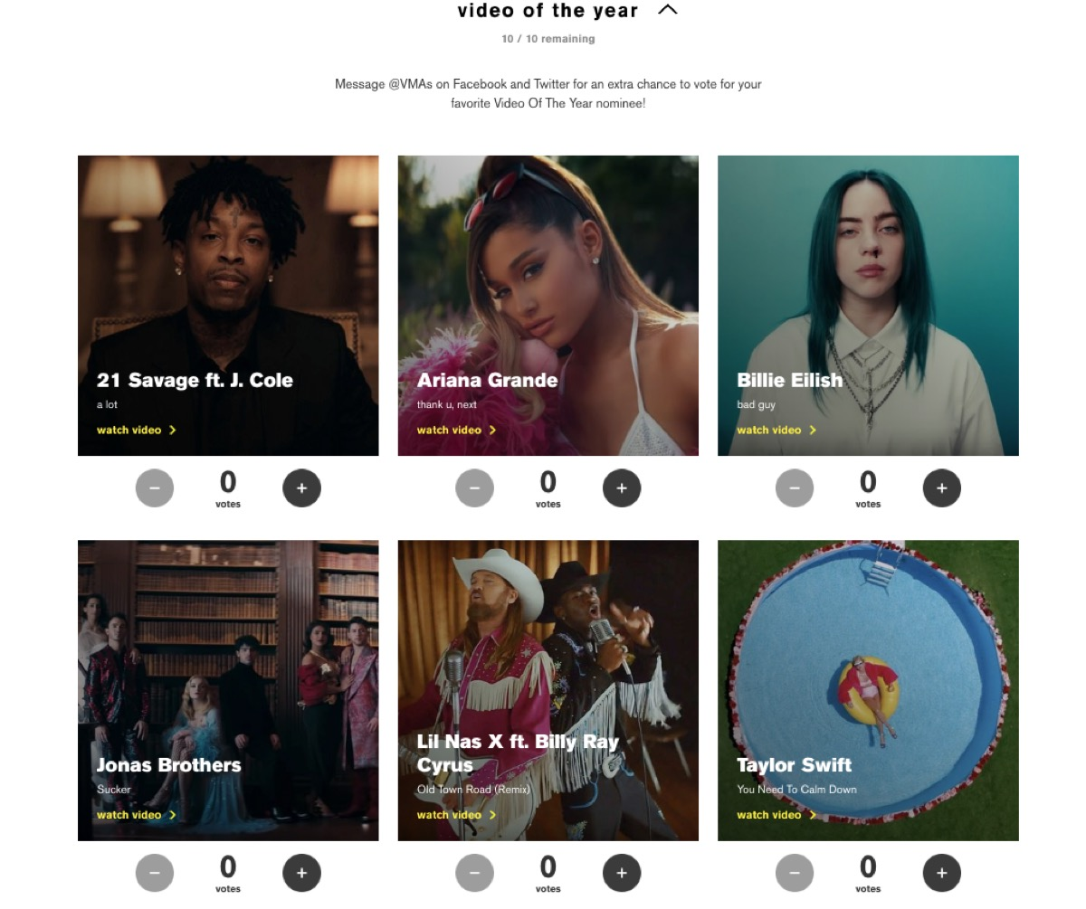 Screenshot of voting website for MTV VMAs 2019 for Video of the Year