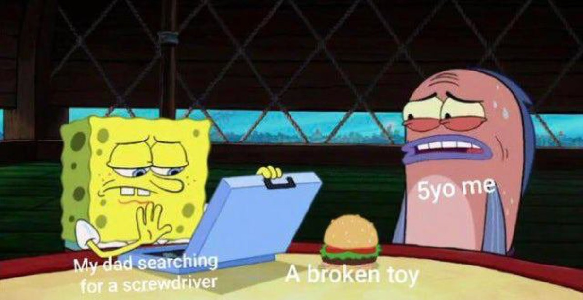Spongebob meme with a dad trying to fix a kid's broken toy