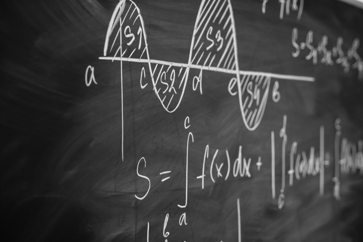 Mathematics function integra graph formulas on the chalkboard