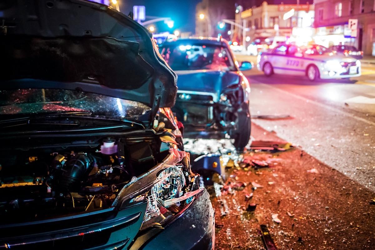 car crash police car