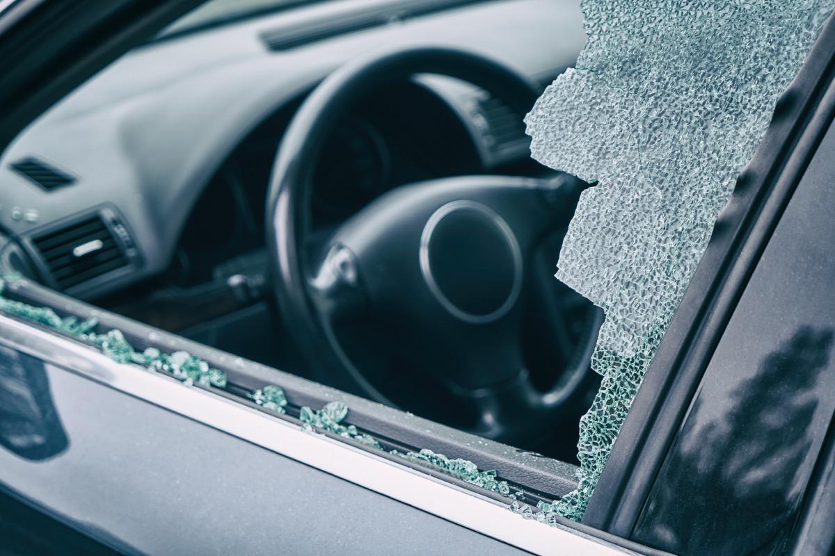 car thief broken window car theft
