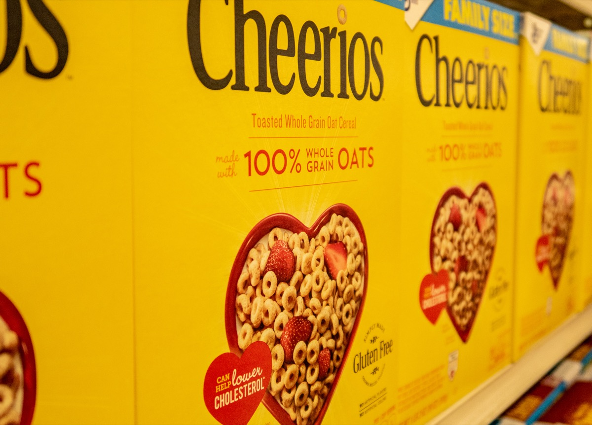 cheerios yellow box on the shelves of a grocery store, trademark failure