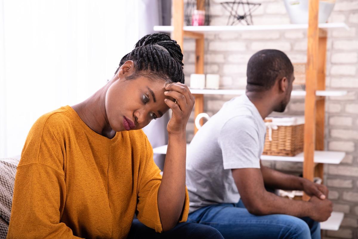 couple arguing on the sofa, rude behavior